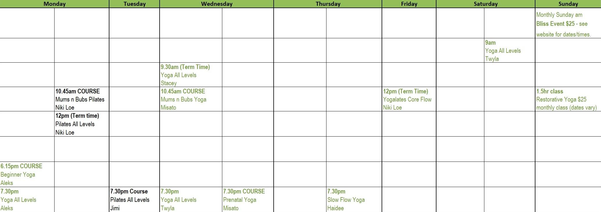 Te Atatu Peninsula Timetable/courses - Te Atatu Yoga/Pilates